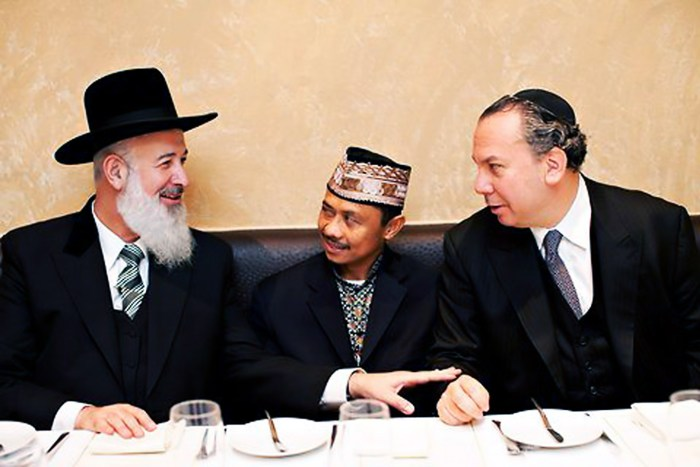 Imams and Rabbis Summit. Ali, center, Chief Rabbi of Israel on left, Rabbi Marc Schneier, right