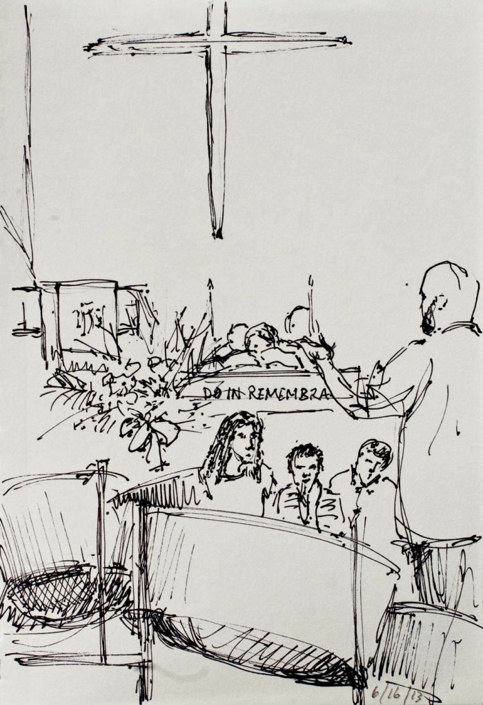 Roy Gomes leads the orchestra. Sketch: Darilyn Carnes/A Journey through NYC religions