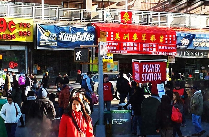 Main Street, Flushing, Queens, November 14, 2015. Mobile photo: Tony Carnes/A Journey through NYC religions