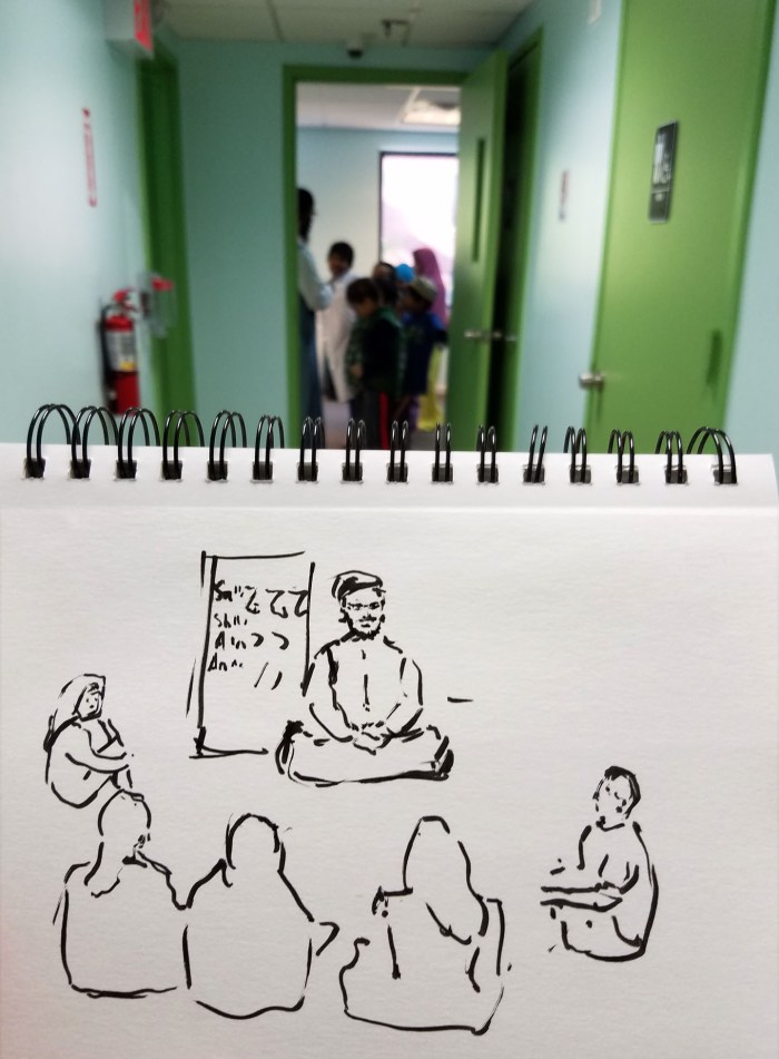 Quran instructor with students. Illustration by Darilyn Carnes/A Journey through NYC religions