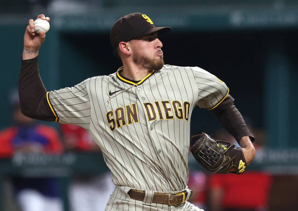 ARLINGTON, TEXAS - APRIL 09:  Joe Musgrove #44 of the San Diego Padres throws against the Texas Rangers in the second inning at Globe Life Field on April 09, 2021 in Arlington, Texas. (Photo by Ronald Martinez/Getty Images)
