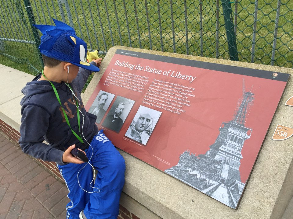 Learning about the Statue of Liberty with the kids audio tour