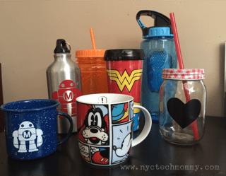 water and coffee mugs