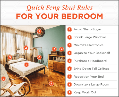 Here's everything you need to know to find peace in your bedroom with feng shui. PLUS free infographic to guide you as you decorate your bedroom.