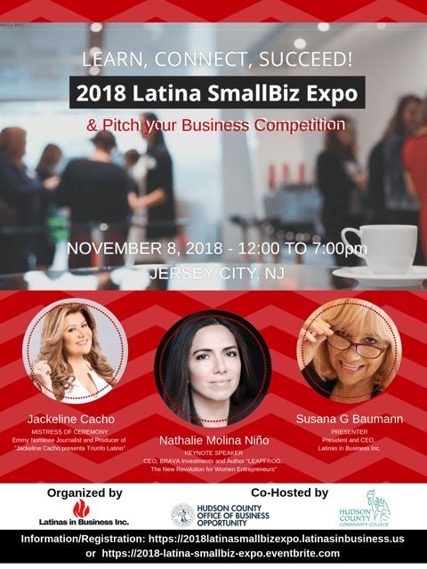 2018 Latina SmallBiz Expo - Empowering Latina Small Business Owners - coming to Jersey City on November 8th, 2018