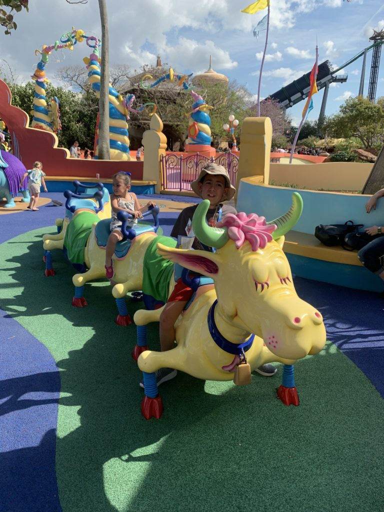 Ride a curious cow with multiple humps at Seuss Landing at Universal's Islands of Adventure