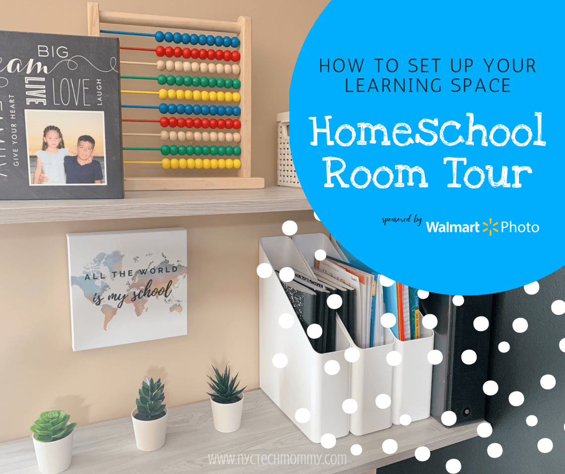 This year, back to school will look noticeably different for many of us. No matter if your kids are remote learning, going back to school, or you've decided to homeschool, a dedicated space for learning is essential. Here's a look at our new Homeschool Room + easy tips to help you set up a learning space at home | #sponsored content created by @nyctechmommy for @wm_phot_center #WalmartPhoto