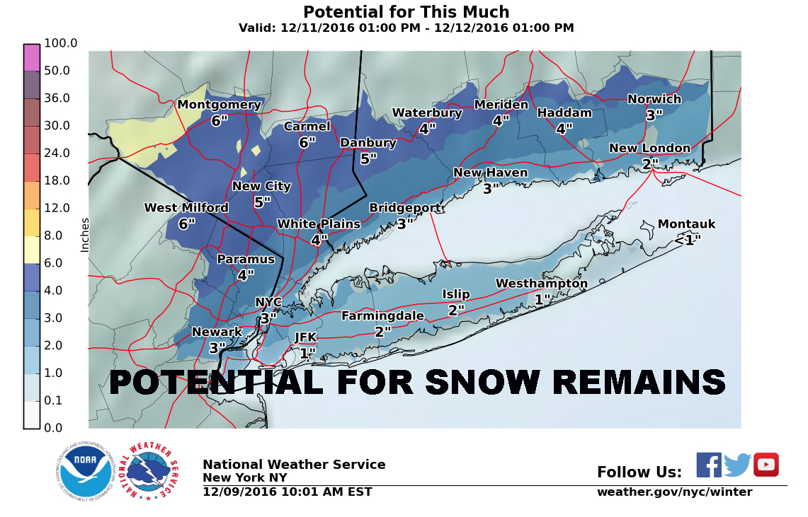 NYC SNOW THREAT REMAINS