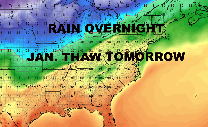 RAIN TONIGHT JANUARY THAW TOMORROW