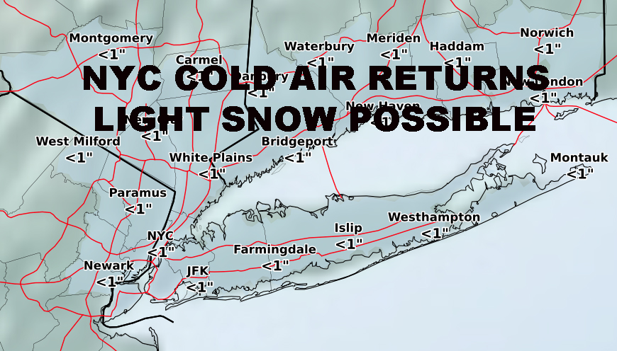 NYC LIGHT SNOW POSSIBLE SATURDAY