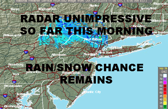 RADAR QUESTIONABLE NYC RAIN SNOW CHANCE REMAINS