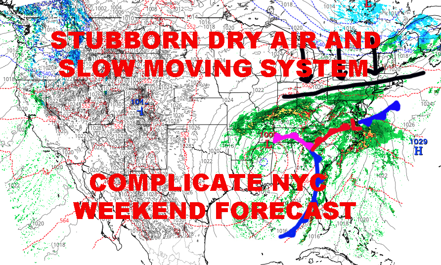 SLOW SYSTEM STUBBORN DRY AIR COMPLICATE NYC FORECAST