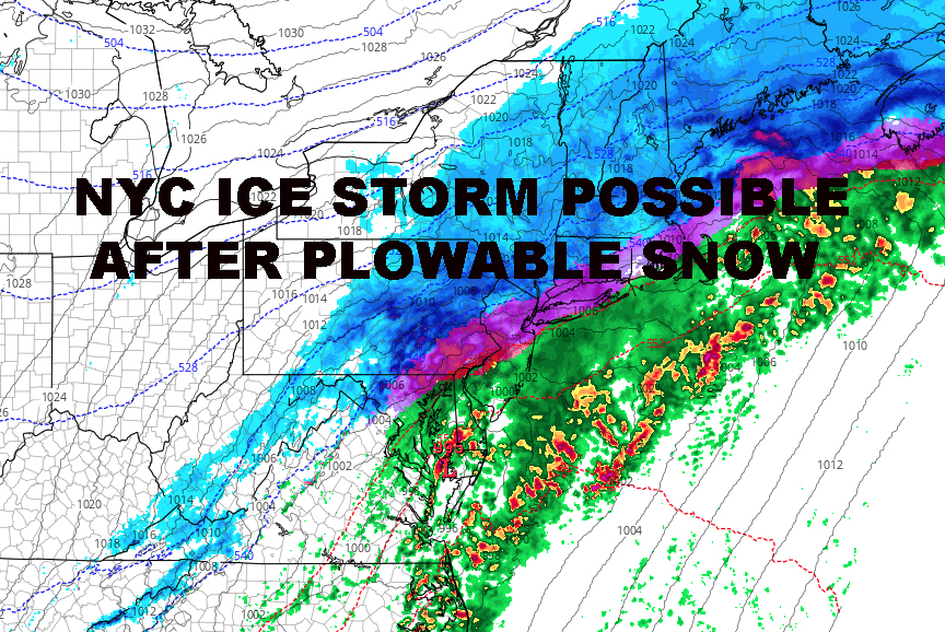 NYC ICE STORM POSSIBLE FOLLOWING PLOWABLE SNOW