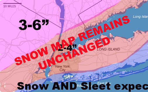 NYC ACCUMULATION MAP REMAINS UNCHANGED FOR SLEET MONSTER
