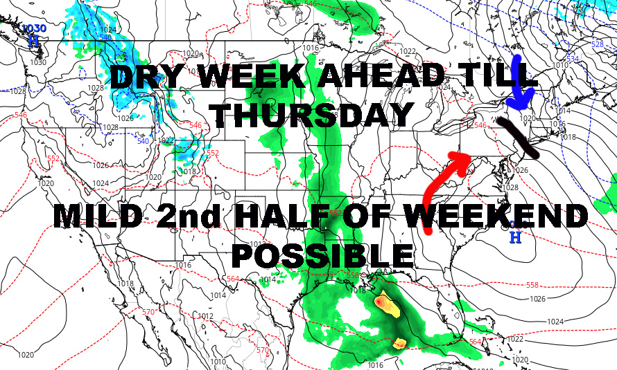 NYC DRY PERIOD UNTIL THURSDAY POSSIBLE MILD SUNDAY AHEAD