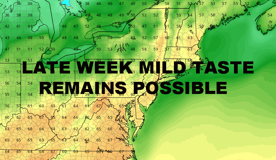 NYC MILD WEATHER TODAY POSSIBLE LATE WEEK