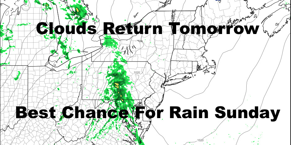 NYC Clouds Roll In Tomorrow Showers Roll In Sunday
