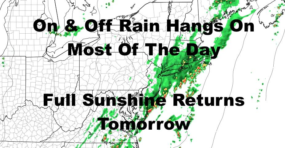 NYC Rain Hugs Coast Today Sun Returns Tomorrow