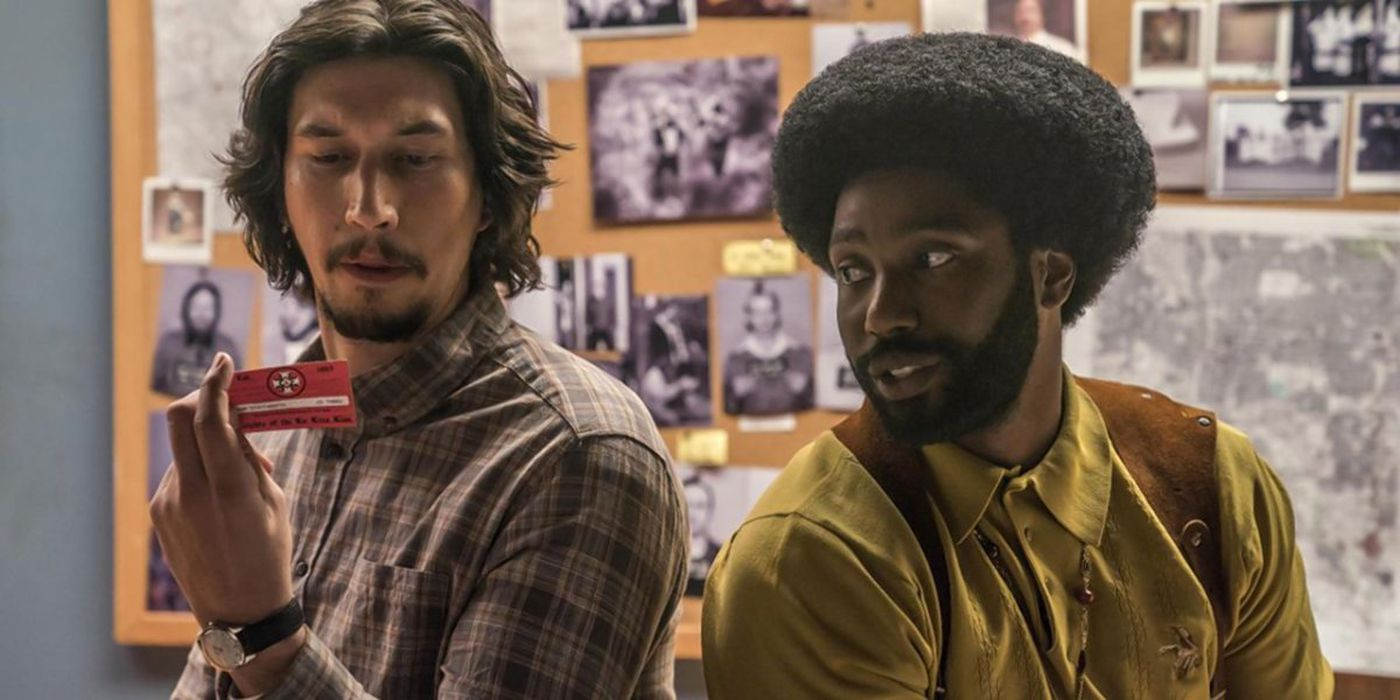 "John David Washington (r.) and Adam Driver (l.) star in Lee's ""BlacKkKlansman."""