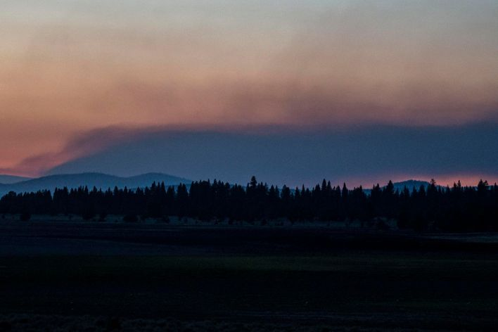 Smoke rises from the Bootleg Fire on Wednesday, July 21, 2021, near Bly, Ore.