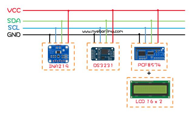 Contoh interface i2c secara paralel