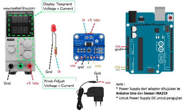 Skema rangkaian pengujian sensor INA219