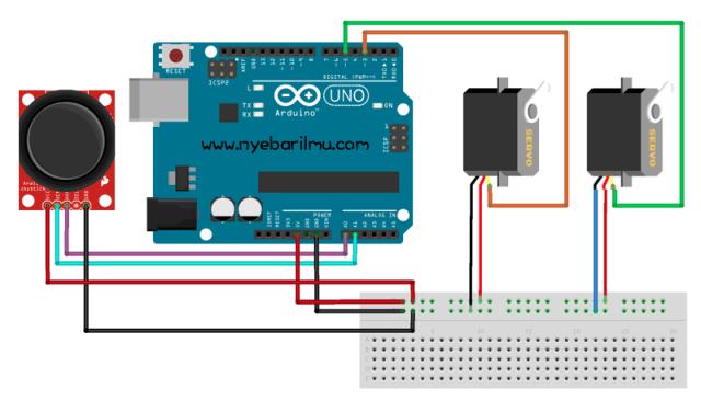 Tutorial arduino mengakses modul joystick untuk mengendalikan 2 servo