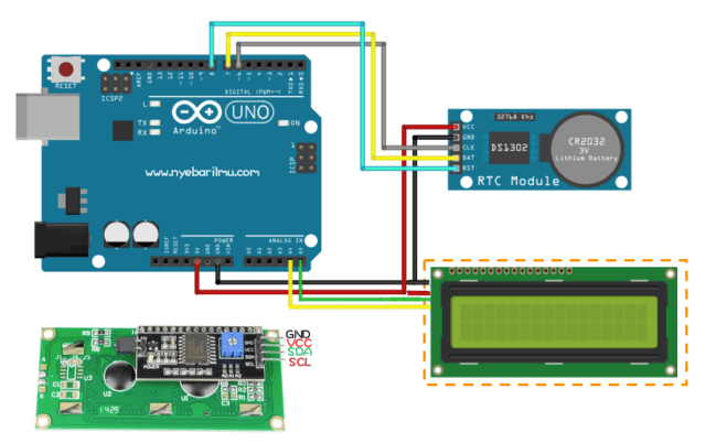 RTC DS1302 dengan penampil LCD 16x2