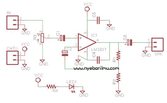 Rangkaian mini amplifier LM383