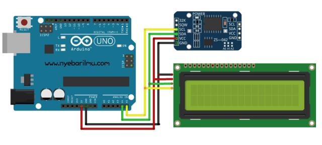 Arduino uno + Module RTC DS3231 + LCD PCF8574
