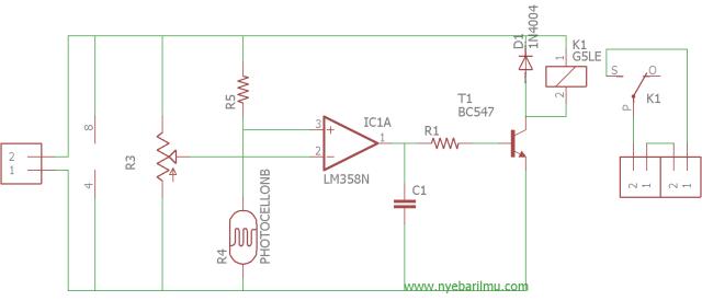 rangkaian lampu otomatis dengan sensor LDR