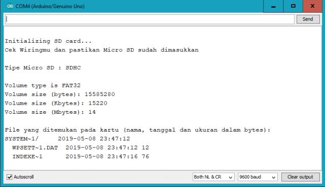 Hasil pembacaan module micro sd arduino setelah di format