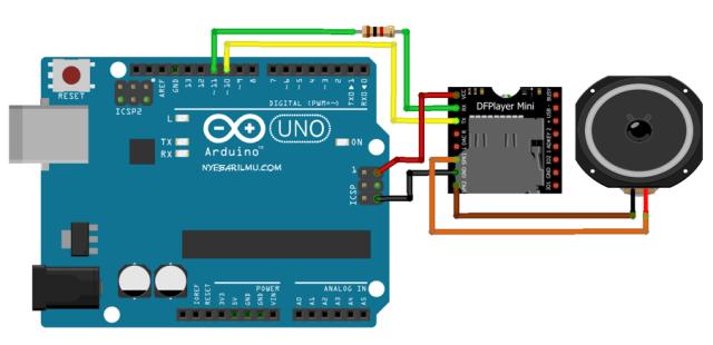 arduino mengakses module dfplayer mini