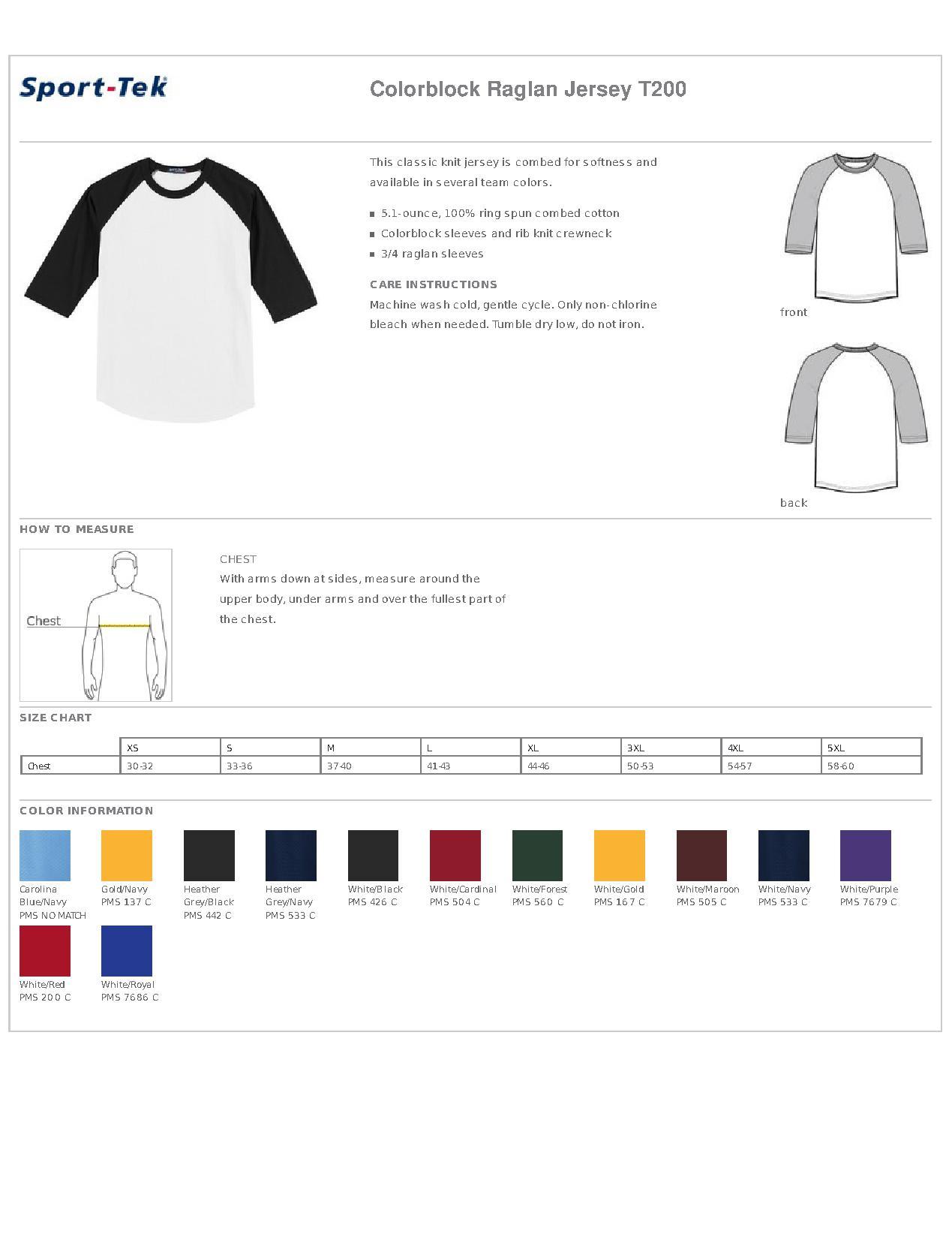 Sport Tek T200 Colorblock Raglan Jersey