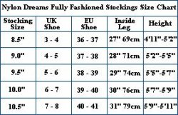 Fully Fashioned Stockings Sizes Chart