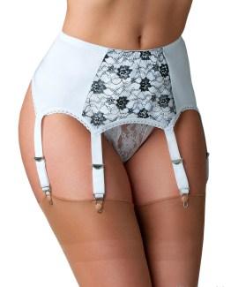 6 Strap Suspender Belt With Black Contrast Lace Front Panel