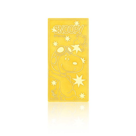 999 Pure Gold Snoopy Holiday Fun Gold Bar 1g Vertical (S$298)