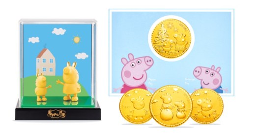 Gold Collectibles. From left to right: Peppa Gold-plated figurine, Peppa & George Christmas Wish Gold Coin ($69)
