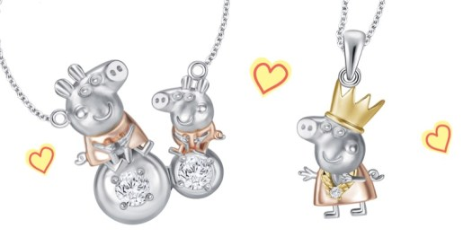 Christmas White Gold Diamond Pendant. From left to right: Peppa & George White Gold Diamond Necklace ($399), Princess Peppa Pendant ($169)