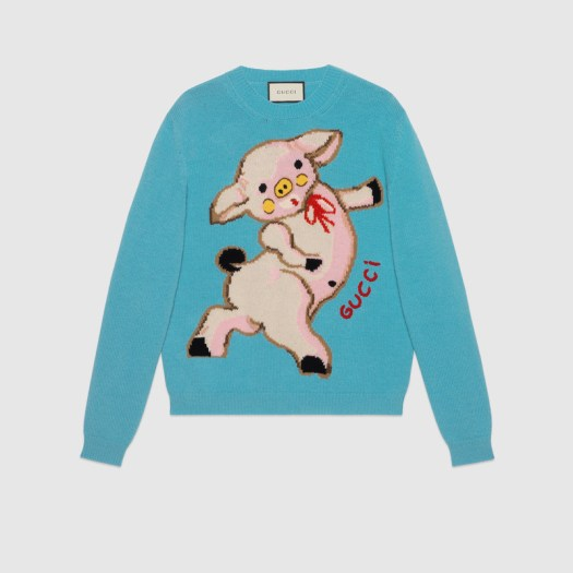 Women's wool sweater with piglet