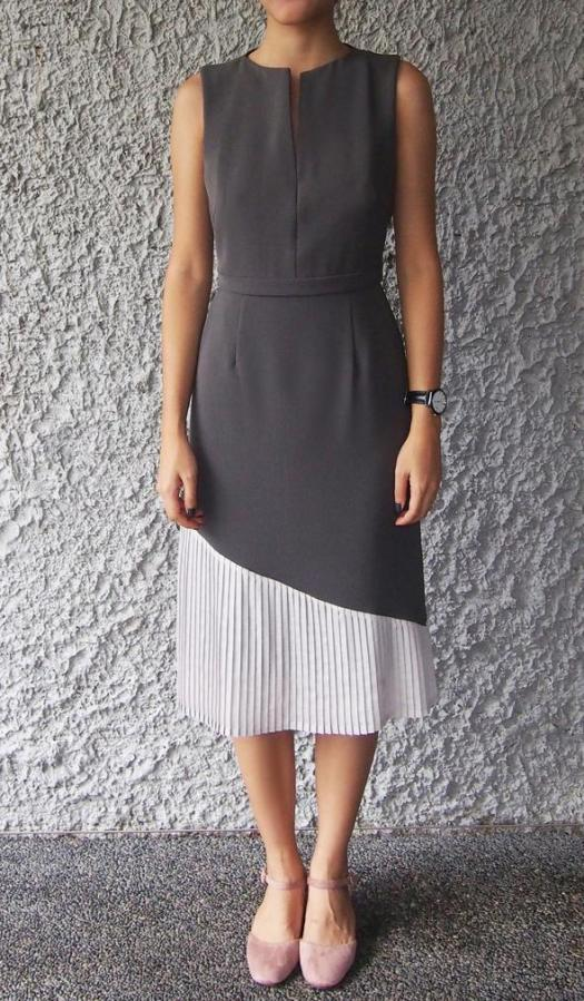 David's Daughter V-neckline Pleated Dress, $95