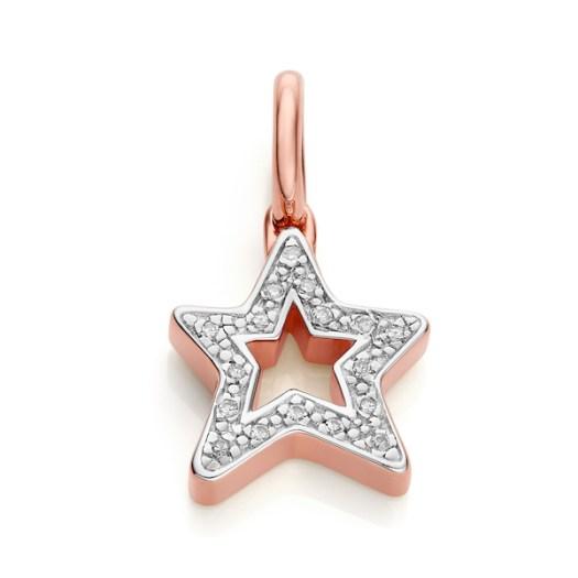 Alphabet Star Diamond Pendant Charm in Rose Gold ($315)