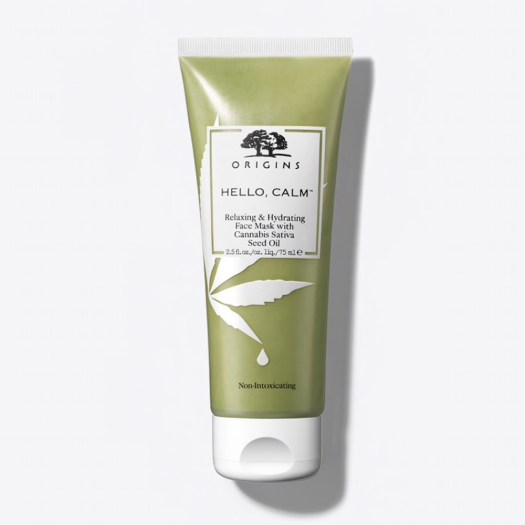 Origins Hello, Calm Relaxing & Hydration Face Mask with Cannabis Sativa Seed Oil, US$28: This is the Estée Lauder company's first foray into the ingredient. This face mask from Origins is meant to calm, reduce irritation and de-stress skin with natural cannabis sativa seed oil.