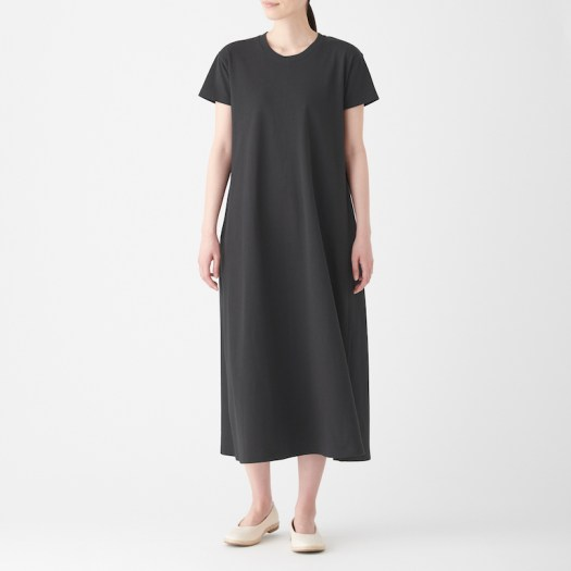 Ladies' Organic Cotton Low Count Short Sleeve Flair Long Dress. Less 10% U.P. $59