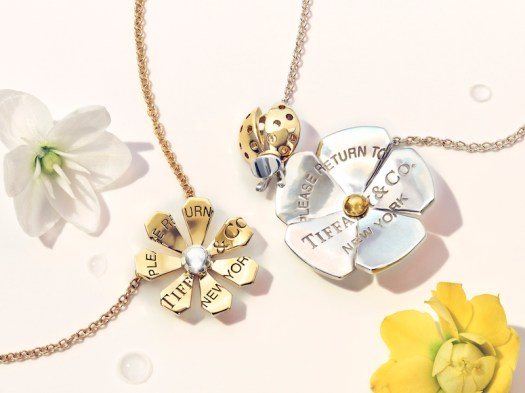 Left to right: Return to Tiffany Love Bugs Daisy Pendant (USD$1,100) Return to Tiffany Love Bugs Ladybug Flower Pendant ($1,300)