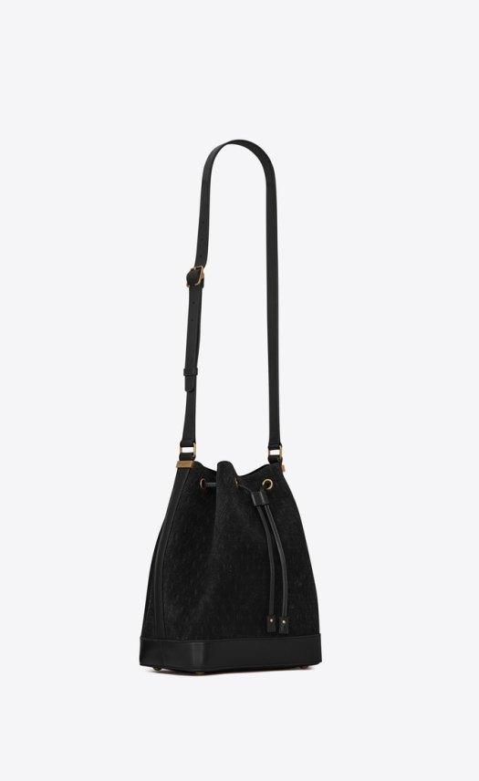 MONOGRAM ALL OVER Bucket Bag in Suede — Black, $3,520