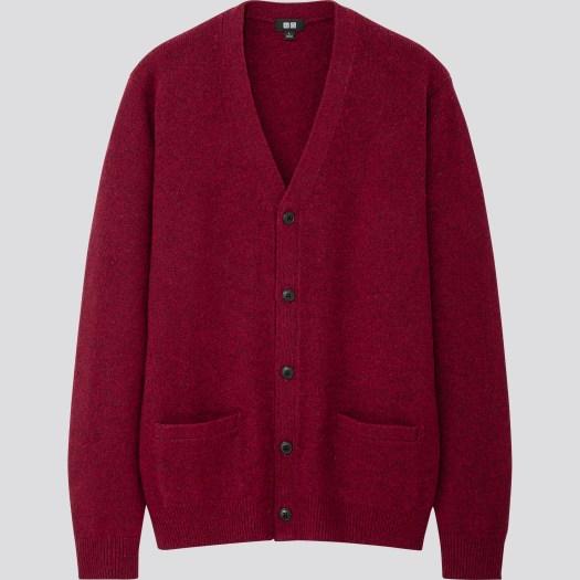 Men's Premium Lambswool V Neck Long Sleeve Cardigan in 18, $59.90