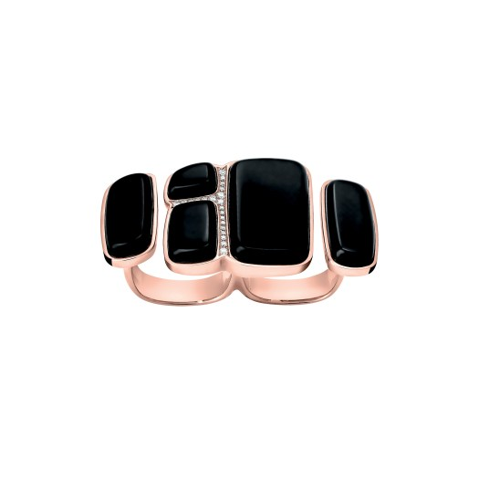 Niloticus Lumière double ring in rose gold and black jade