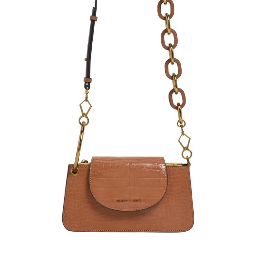 CROC-EFFECT RING HANDLE MINI FRONT FLAP WALLET IN TAN, $66.90