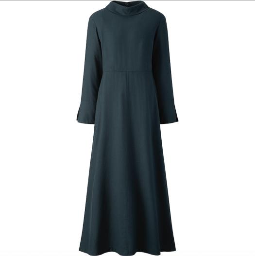Hana Tajima Flannel Flare Long-Sleeved Long Dress, $59.90